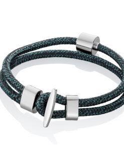Askesmykke armbånd cord sort petroleum