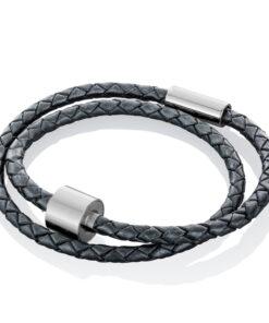 Askesmykke armbånd læder flettet sort