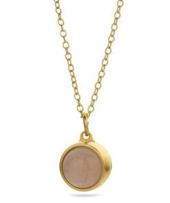 Askesmykke pendant vedhæng guld rosa kvarts