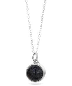 Askesmykke pendant vedhæng stål blå guldsten
