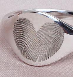 Hjerte fingeraftryk ring