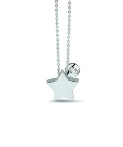 Stjerne vedhæng i hvidguld med diamant