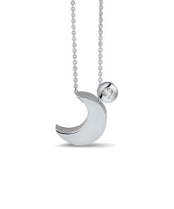 Sølv måne vedhæng halskæde med diamant