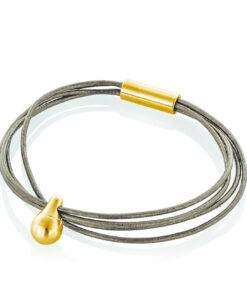 Bronze læder armbånd med guld charm til aske