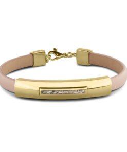 Personlig læder armbånd nude farvet med guld