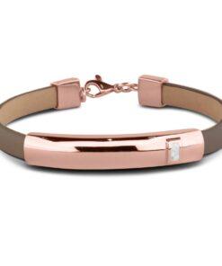 Personligt læder armbånd med rosaguld